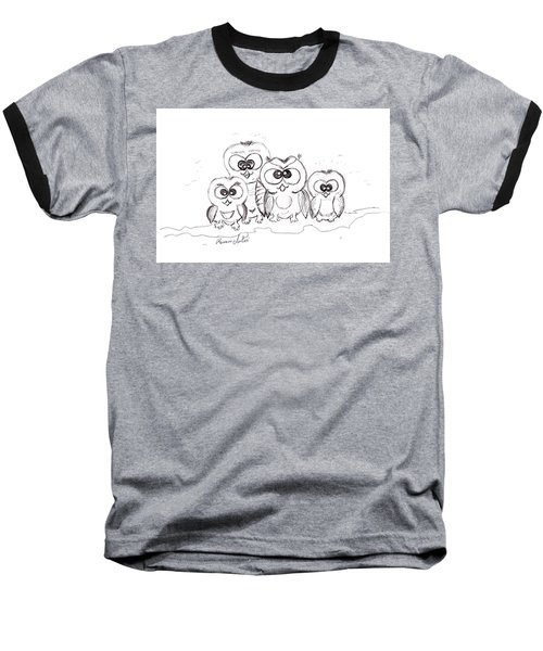 Just The Four Of Us Baseball T-Shirt by Ramona Matei