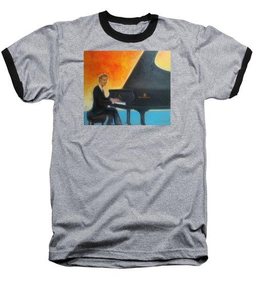 Justin Levitt At Piano Red Blue Yellow Baseball T-Shirt