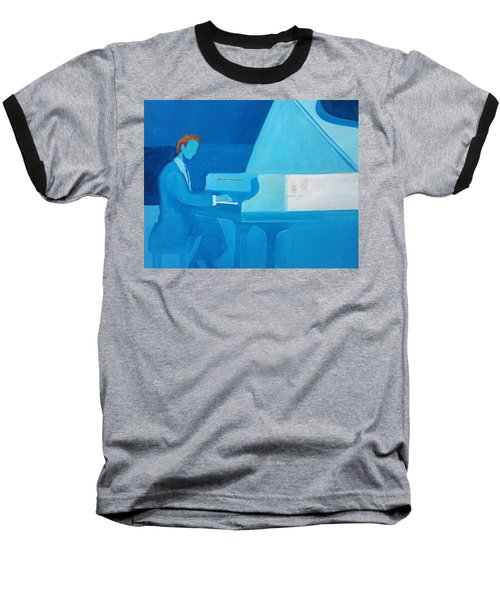 Justin Levitt Steinway Piano Blue Baseball T-Shirt