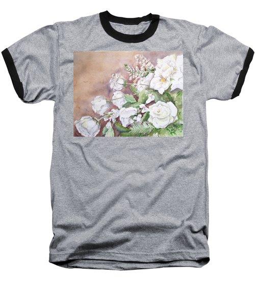 Justin's Flowers Baseball T-Shirt by Marilyn Zalatan