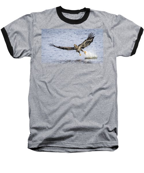 Juvenile Bald Eagle Fishing Baseball T-Shirt by Ricky L Jones