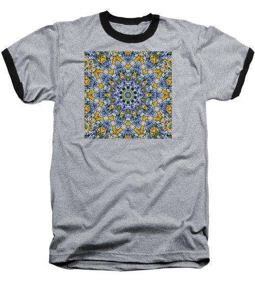 Kaleidoscope - Blue And Yellow Baseball T-Shirt by Nikolyn McDonald
