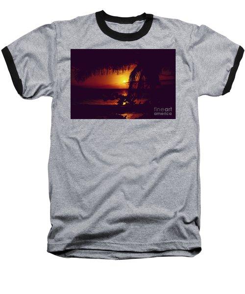 Kamaole Tropical Nights Sunset Gold Purple Palm Baseball T-Shirt by Sharon Mau