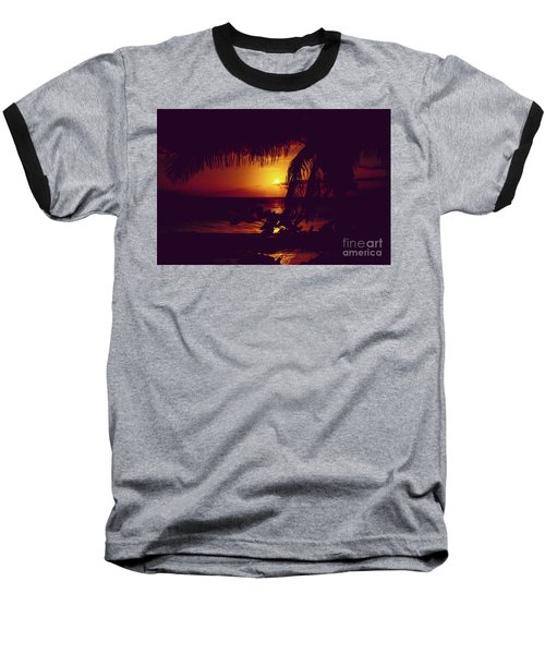 Baseball T-Shirt featuring the photograph Kamaole Tropical Nights Sunset Gold Purple Palm by Sharon Mau