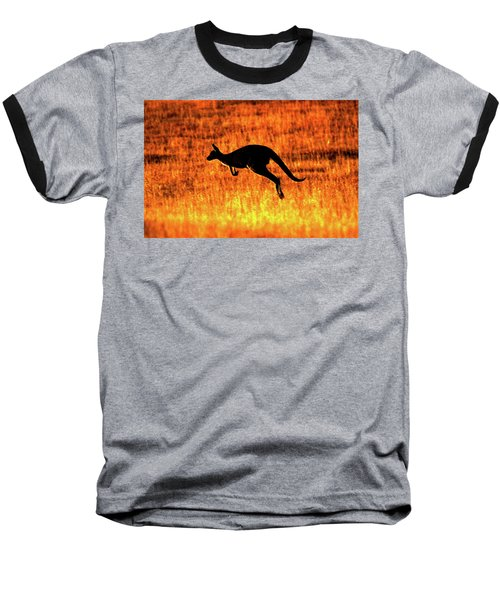 Kangaroo Sunset Baseball T-Shirt by Bruce J Robinson