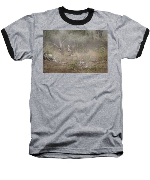Kangaroos In The Mist Baseball T-Shirt by Az Jackson