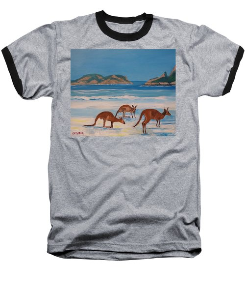 Kangaroos On The Beach Baseball T-Shirt