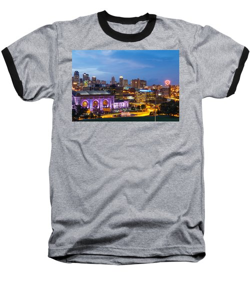 Kansas City Night Sky Baseball T-Shirt by Steven Bateson