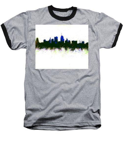 Kansas City Skyline Blue  Baseball T-Shirt by Enki Art