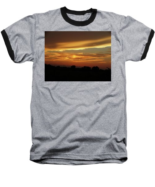 Kansas Summer Sunset Baseball T-Shirt by Rebecca Overton