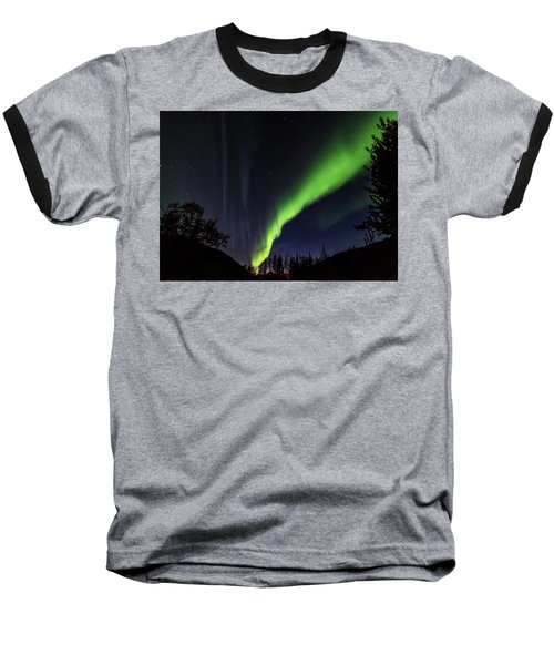 Kantishna Northern Lights In Denali National Park Baseball T-Shirt by Brenda Jacobs