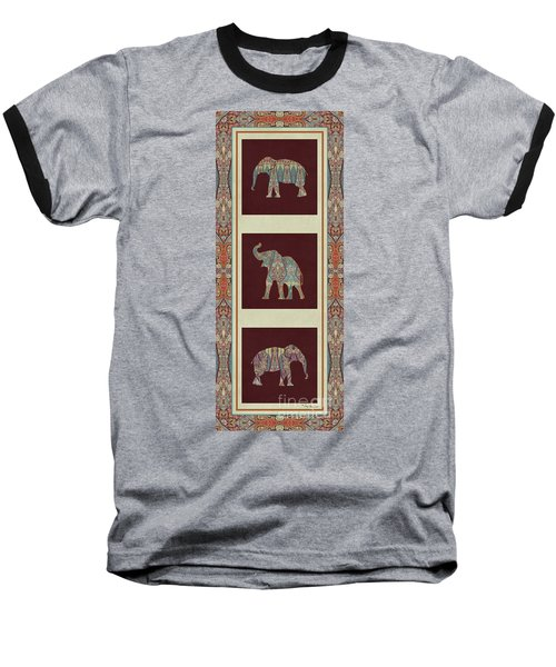 Baseball T-Shirt featuring the painting Kashmir Elephants - Vintage Style Patterned Tribal Boho Chic Art by Audrey Jeanne Roberts