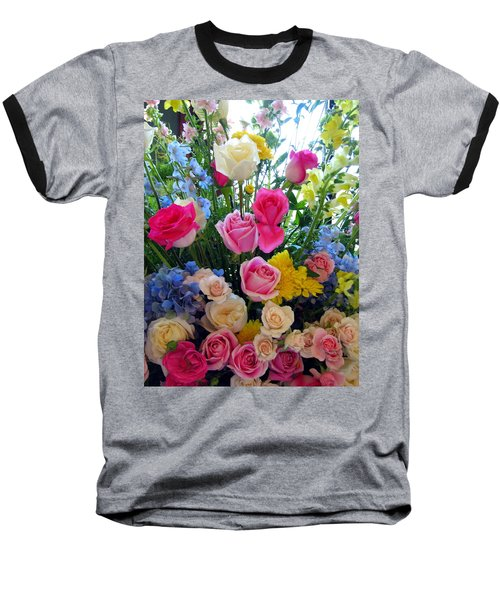 Kate's Flowers Baseball T-Shirt by Carla Parris