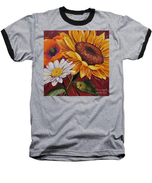 Baseball T-Shirt featuring the painting Kathrin's Flowers by Lisa Fiedler Jaworski