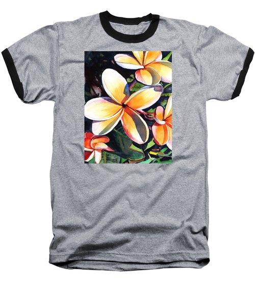 Kauai Rainbow Plumeria Baseball T-Shirt by Marionette Taboniar