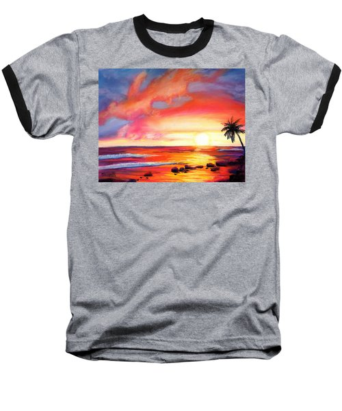 Baseball T-Shirt featuring the painting Kauai West Side Sunset by Marionette Taboniar