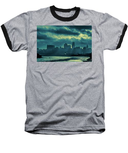 Kaw Point Kansas City Skyline Baseball T-Shirt