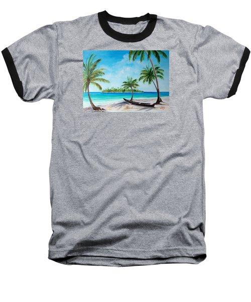 Kayak On The Beach Baseball T-Shirt by Lloyd Dobson