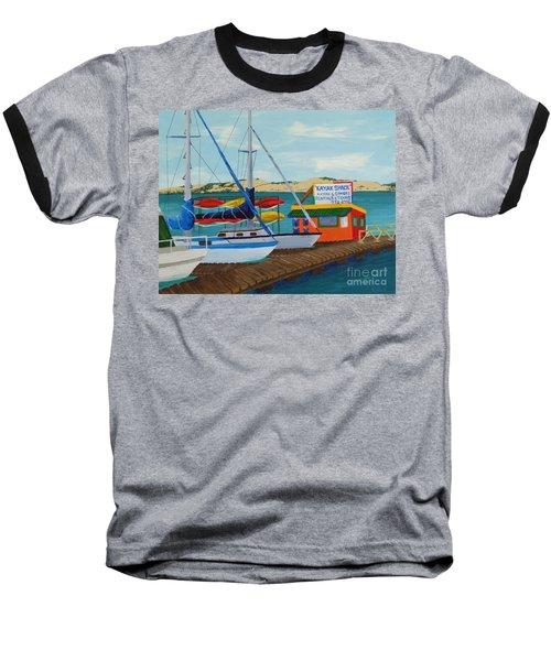 Baseball T-Shirt featuring the painting Kayak Shack Morro Bay California by Katherine Young-Beck