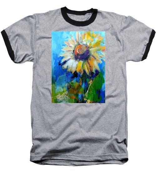 Baseball T-Shirt featuring the painting Kellie's Sunflower by Jodie Marie Anne Richardson Traugott          aka jm-ART
