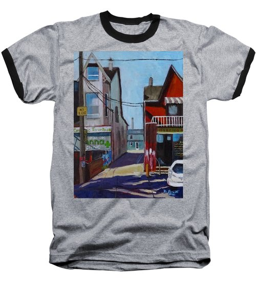 Kensington Market Laneway Baseball T-Shirt by Diane Arlitt