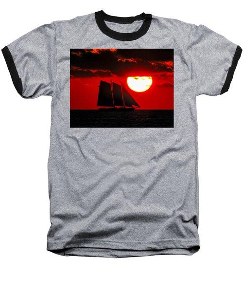 Key West Sunset Sail Silhouette Baseball T-Shirt