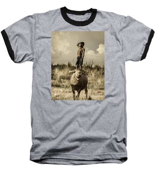 Kid And Cow Baseball T-Shirt