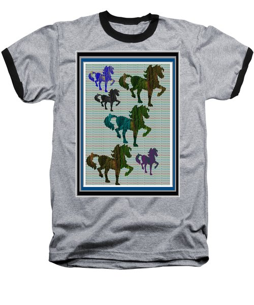 Kids Fun Gallery Horse Prancing Art Made Of Jungle Green Wild Colors Baseball T-Shirt by Navin Joshi