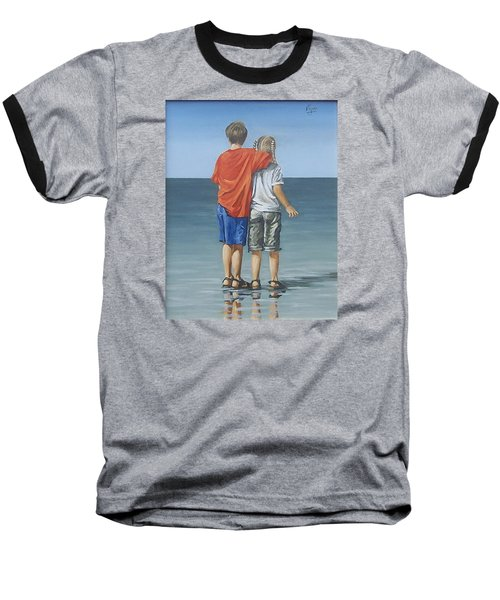 Baseball T-Shirt featuring the painting Kids by Natalia Tejera