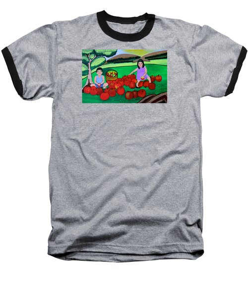 Kids Playing And Picking Apples Baseball T-Shirt