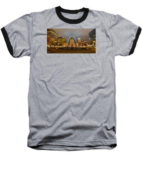 Kiener Plaza And The Gateway Arch Baseball T-Shirt by Matthew Chapman