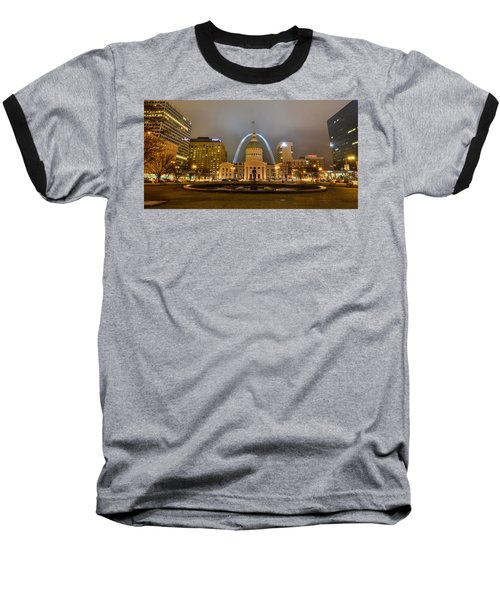 Kiener Plaza And The Gateway Arch Baseball T-Shirt