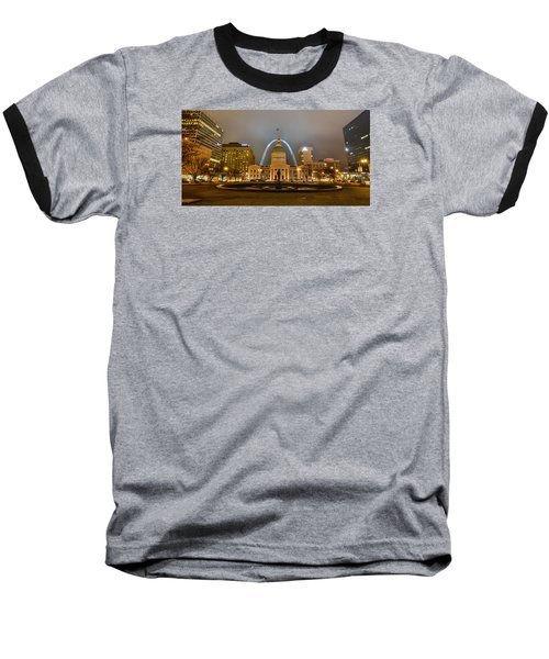 Kiener Plaza And The Gateway Arch Baseball T-Shirt