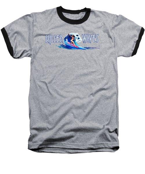 Killer Waves Skull Pink Baseball T-Shirt