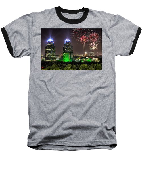 King And Queen Buildings Fireworks Baseball T-Shirt by Anna Rumiantseva