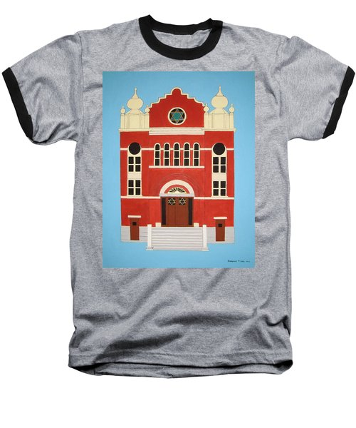 Baseball T-Shirt featuring the painting King Edward Street Shul by Stephanie Moore
