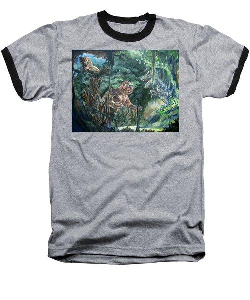 Baseball T-Shirt featuring the painting King Kong Vs T-rex by Bryan Bustard