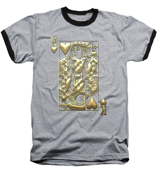 King Of Hearts In Gold On Black Baseball T-Shirt