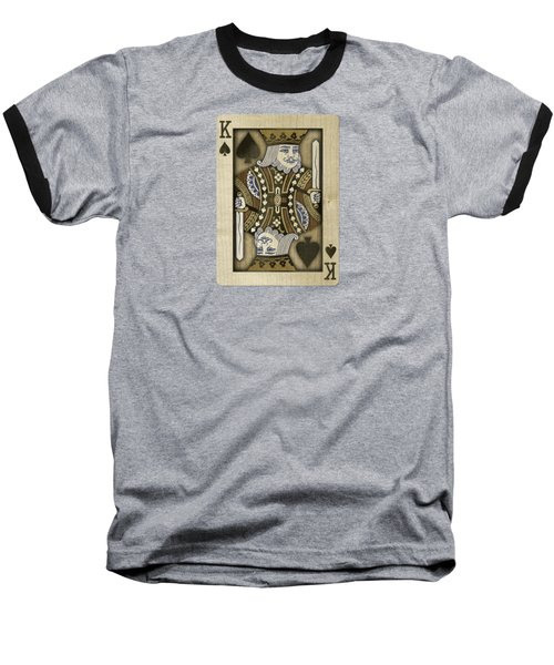 King Of Spades In Wood Baseball T-Shirt by YoPedro