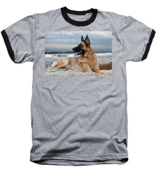 King Of The Beach - German Shepherd Dog Baseball T-Shirt