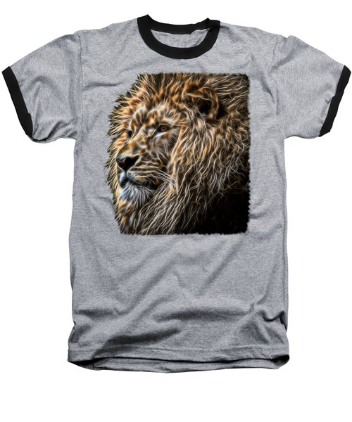 King Of The Jungle - Fractal Male Lion Baseball T-Shirt