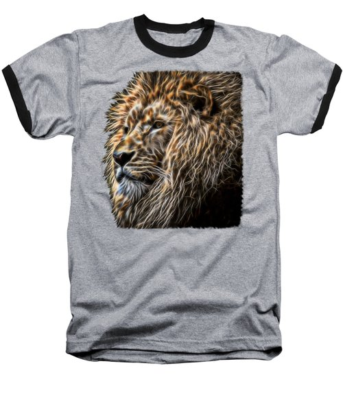 King Of The Jungle - Fractal Male Lion Baseball T-Shirt
