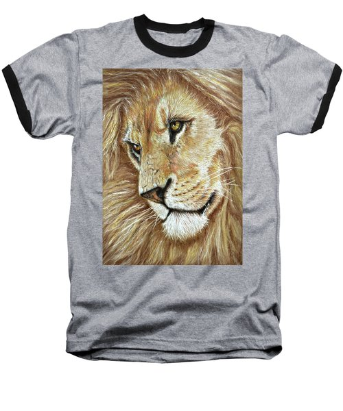 Baseball T-Shirt featuring the drawing King Of The Jungle by Heidi Kriel