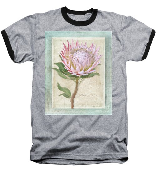 Baseball T-Shirt featuring the painting King Protea Blossom - Vintage Style Botanical Floral 1 by Audrey Jeanne Roberts