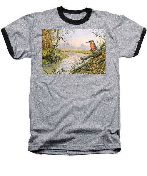 Kingfisher  Autumn River Scene Baseball T-Shirt
