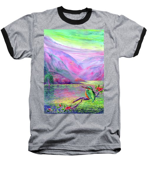 Kingfisher, Shimmering Streams Baseball T-Shirt by Jane Small