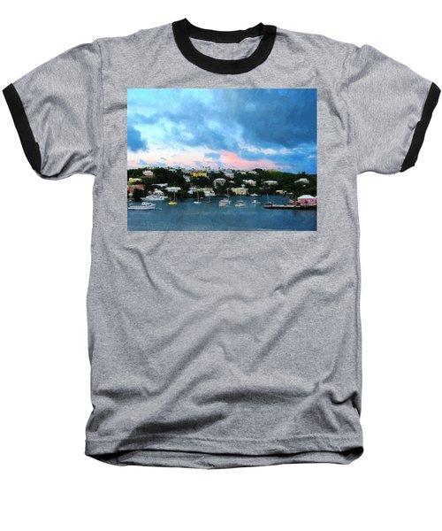 Baseball T-Shirt featuring the photograph King's Wharf Bermuda Harbor Sunrise by Susan Savad