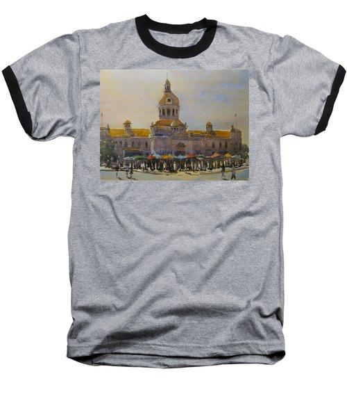 Kingston-city Hall Market Morning Baseball T-Shirt by David Gilmore