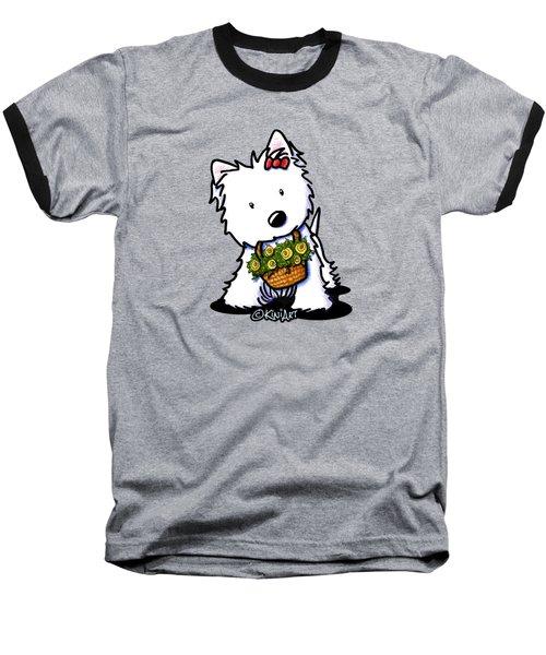 Kiniart Flower Basket Westie Baseball T-Shirt