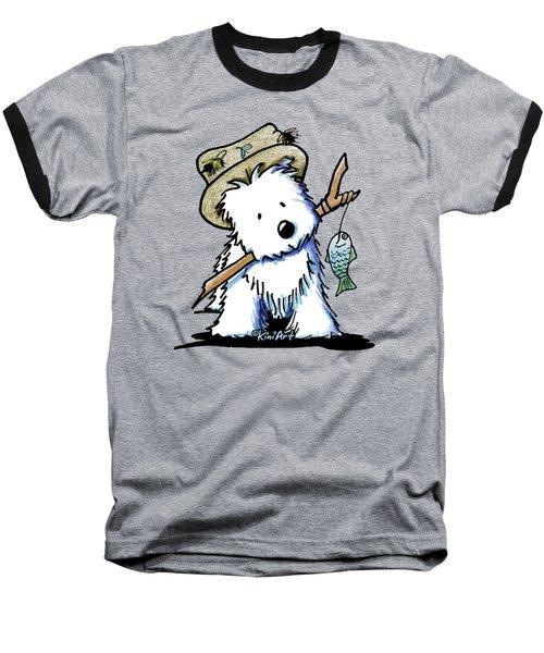 Kiniart Westie Fisherman Baseball T-Shirt